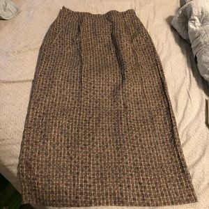 Vintage Brown Tea Length Skirt with Pockets
